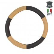 Чохол на кермо шкіряний Elegant Maxi, бежевий+чорний з перфорацією