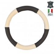 Чохол на кермо шкіряний Elegant Maxi, білий+чорний з перфорацією