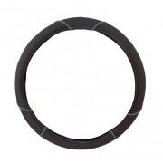 Чохол на кермо із шкірзамінника Elegant Plus, M, чорний з сірою ниткою